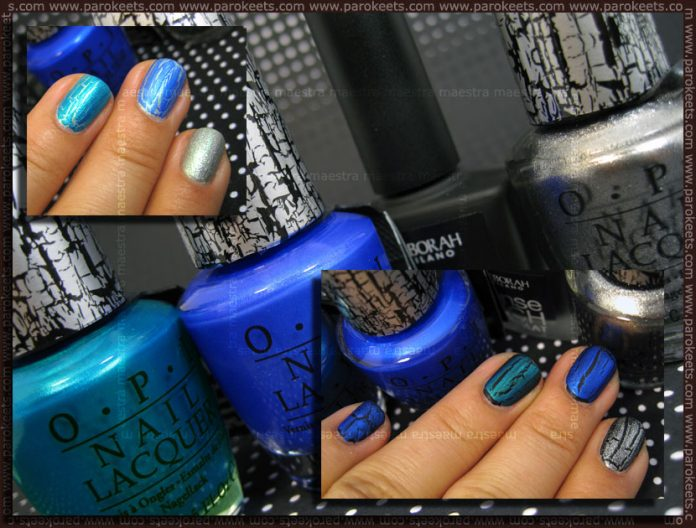 Swatch: OPI - Blue Shatter, Turquoise Shatter, Silver Shatter over Deborah - 01 100% Mat and CQ - Gem Green