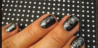 Pirate's manicure: OPI - Silver Shatter over Essie - Dive Bar and Konad - m70