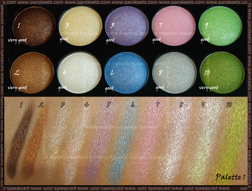 Swatch: Beauty UK eye shadow collection: No. 1 Pastels eyeshadow palette