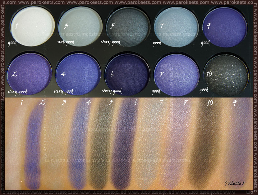 Swatch: Beauty UK eye shadow collection: No. 5 Twilight eyeshadow palette