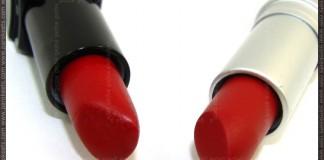 Comparison: Illamasqua Sangers vs. Revlon Matte Really Red packaging
