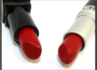 Comparison: Illamasqua Sangers vs. Revlon Matte Really Red packaging
