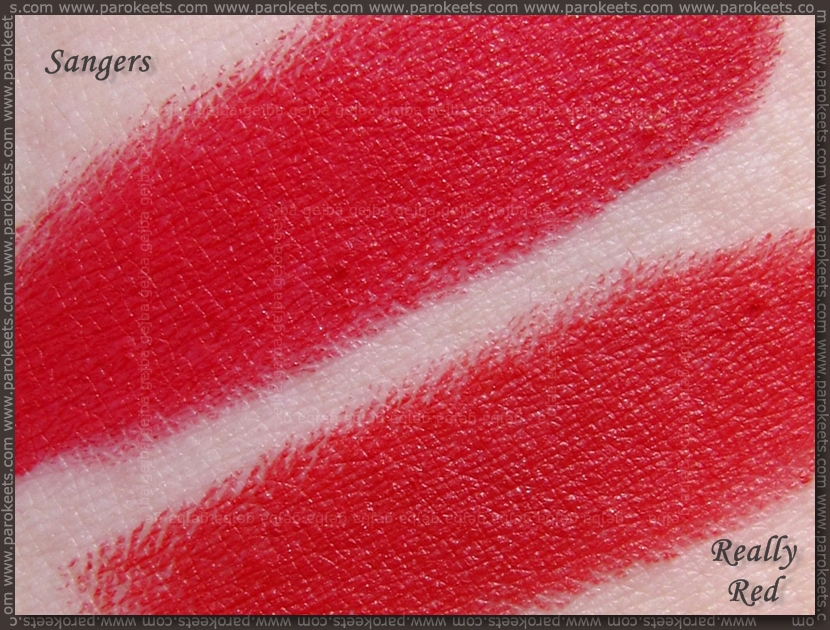 Comparison: Illamasqua Sangers vs. Revlon Matte Really Red swatch