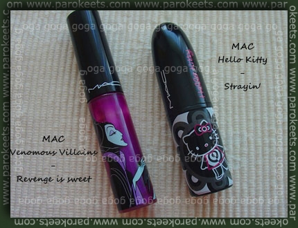 MAC lipglass Revenge is sweet, MAC Strayin'