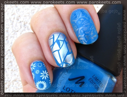 Manhattan 4 + China Glaze - Millenium, Essence Stamp Me White, Miracle Shine, Bundle Monster 208, 224, 225