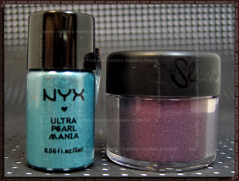 Sleek - Eye dust: Fantasy vs. NYX - Ultra Pearl Mania: Turquoise Pearl
