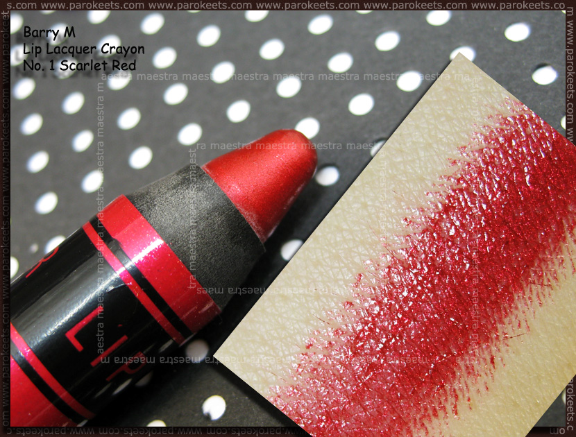 Swatch: Barry M - Lip Lacquer Crayon: No. 1 - Scarlet Red