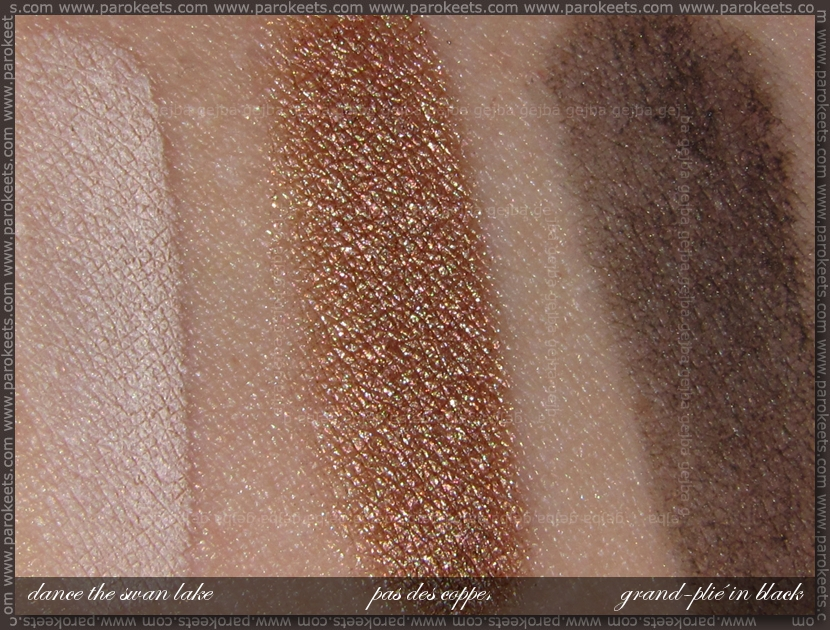 Essence Ballerina Backstage LE - Dance The Swan Lake, Pas Des Copper, Grand-plie In Black eye souffle swatch