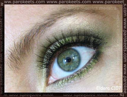 Green make-up look with Eldora C107 false eyelashes