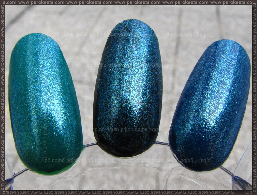 H&M Summer Nails nail polishes 2011 Metallic Blue over: Manhattan Green Piece, Color Club Where's The Soiree, Essence Buddy Bear