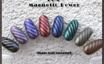 LCN Magnetic Power nail polishes - diagonal magnet design