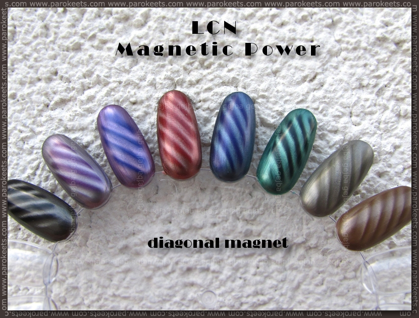 Review and swatches: LCN Magnetic nail polish swatches