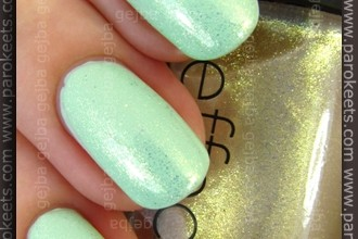 Manhattan Fresh-Excited! + CND Jade Sparkle swatch by Parokeets