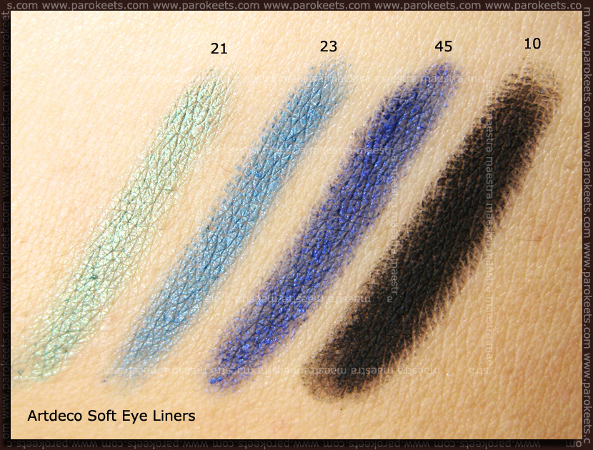 Swatch: Artdeco - Soft Eye Liner waterproof: 21, 23, 45, 10