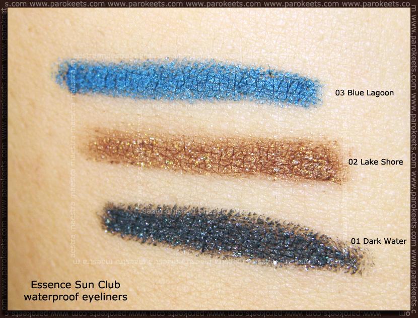 Swatch: Essence - Sun Club Waterproof Eyeliners: Blue lagoon, Lake shore, Dark water