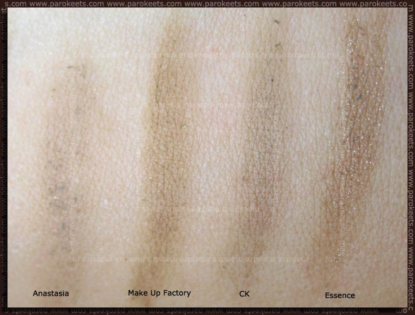 Swatch: Eyebrow products: Anastasia - Ash Blonde, Make Up factory - 6, CK - Blonde, Essence - Medium Brown