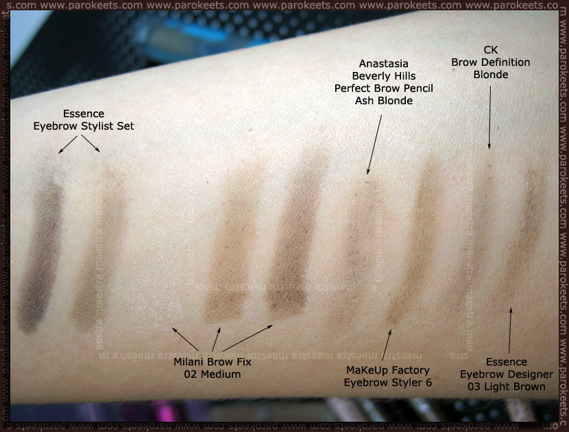 Swatch: Maestra's eyebrow products