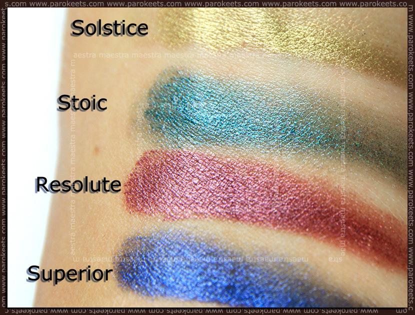 Swatch: Illamasqua 4-Colour Liquid Metal Palette: Stoic, Solstice, Resolute, Superior