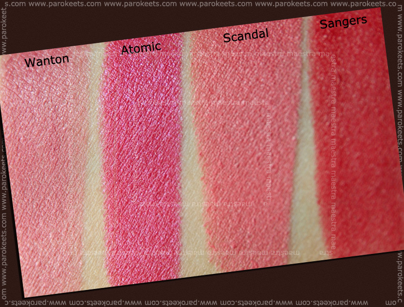 Swatch: Illamasqua lipstick: Sangers, Wanton, Atomic, Scandal