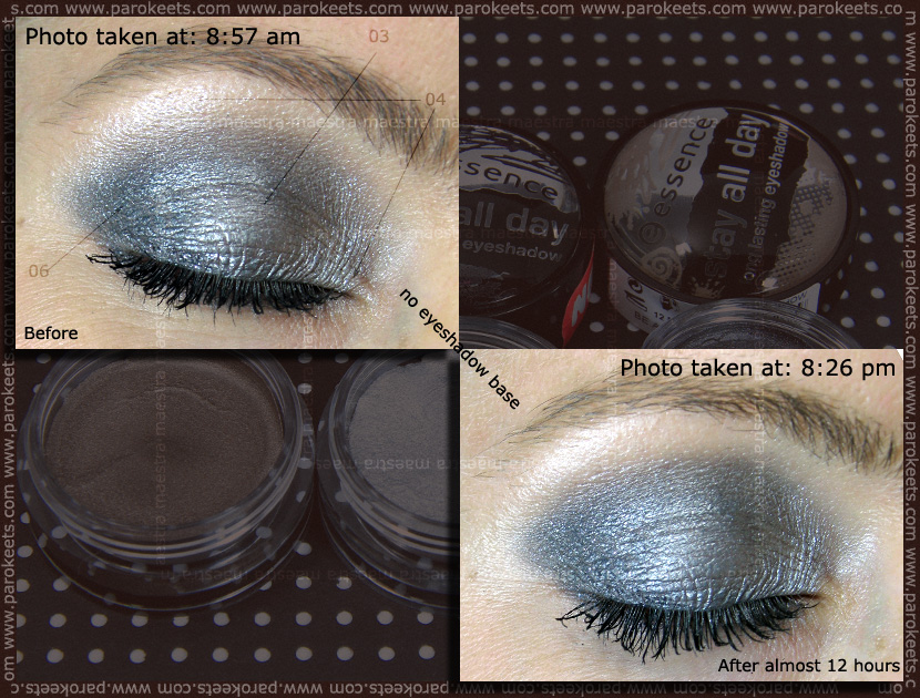 Wear test: Essence - I Love TE: Stay All Day long lasting eyeshadows: 03 Steel The Show, 04 Stars & Stories, 06 Rock Chic