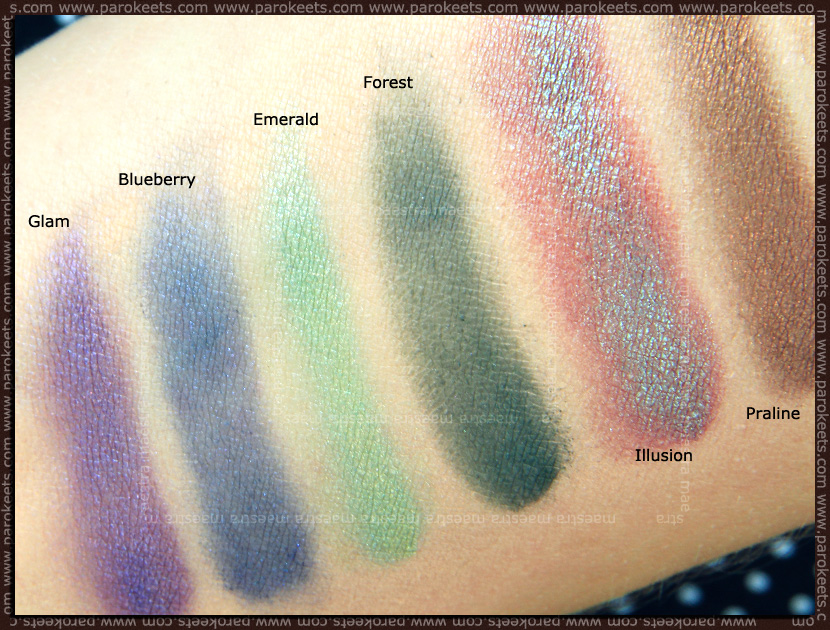Swatch: Mineralissima mineral eyeshadows: Praline, Illusion, Forest, Emerald, Blueberry, Glam