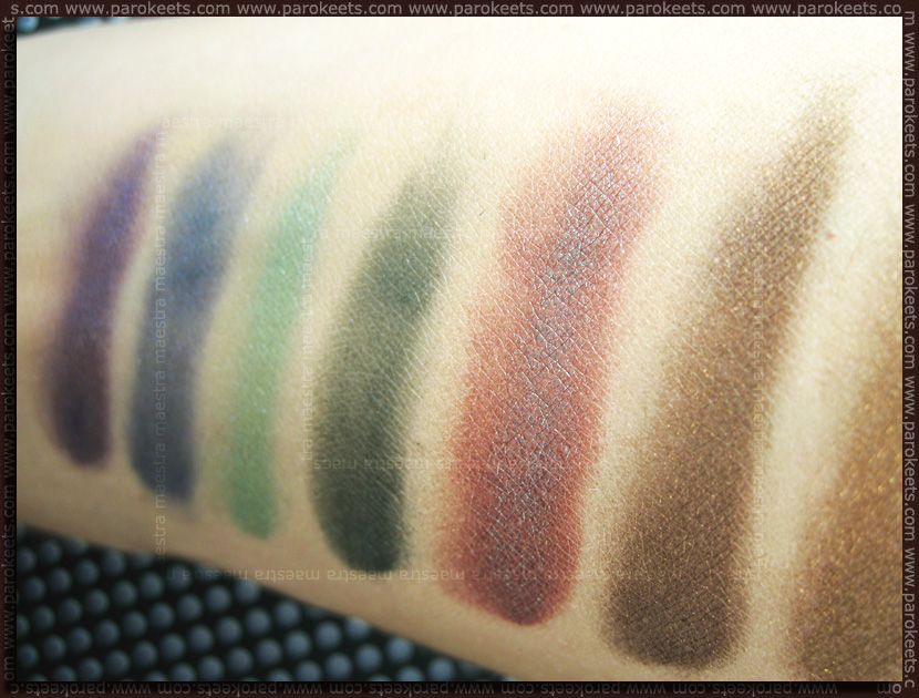 Mineralissima mineral eyeshadows: Praline, Illusion, Forest, Emerald, Blueberry, Glam