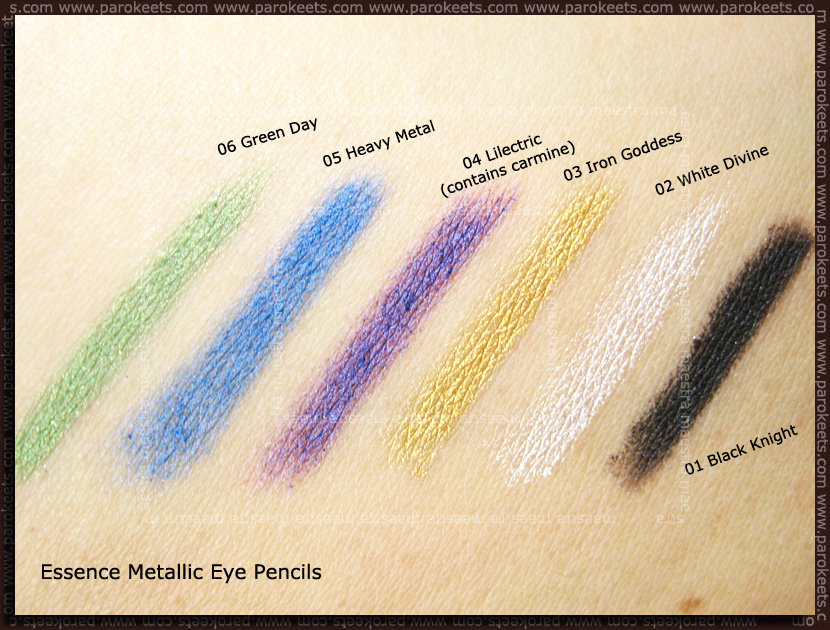 Swatch: Essence - Metallic Eye Pencil: Green Day, Heavy Metal, Lilectric, Iron Goddess, White Divine, Black Knight