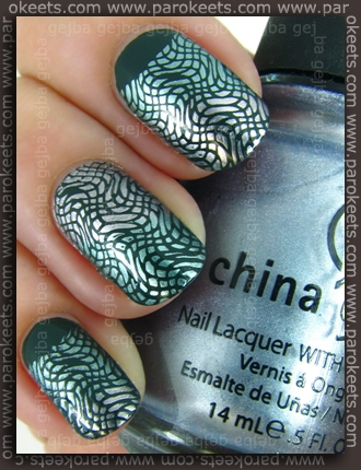 KIKO Verde Scuro (347) + China Glaze Sci-Fi + Metallic Muse + XL B plate