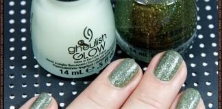 Swatch: China Glaze (Haunting Halloween 2011 LE) - It's Alive (2 coats) + Ghoulish Glow (1 coat)