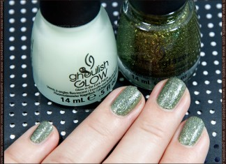 Swatch: China Glaze (Haunting Halloween 2011 LE) - It's Alive (2 coats) + Ghoulish Glow (1 coat)