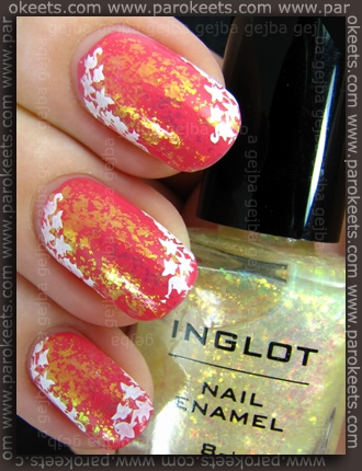 Essence I Love This City, Inglot 205, H7 + Essence Stamp Me White - pink challenge GEJBA