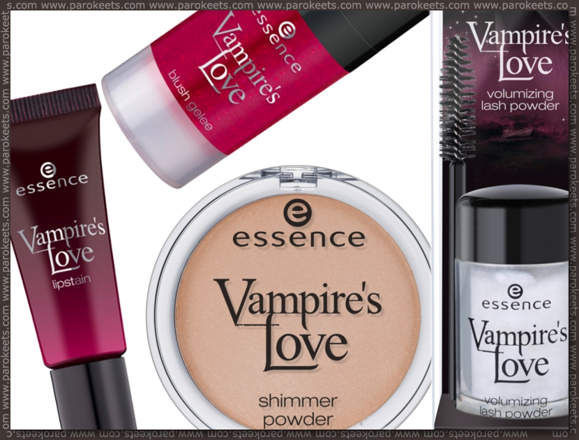 Preview: Essence Vampire's Love TE blush glee, lip stain, shimmer powder, lash powder