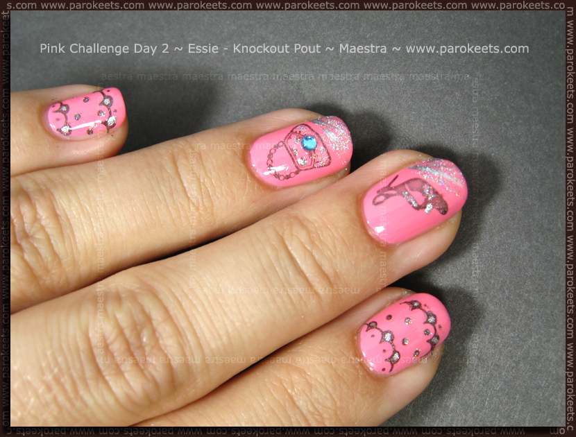 Pink Challenge Day 2: Essie - Knockout Pout + Konad - m9, m16, m77 by Maestra