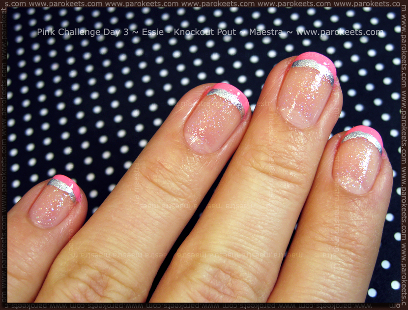 French manicure: Pink Challenge Day 2: Essie - Knockout Pout + Color Club - Hot Couture by Maestra