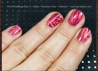 Pink Challenge Day 4: Essie - Knockout Pout + Water Marble by Maestra