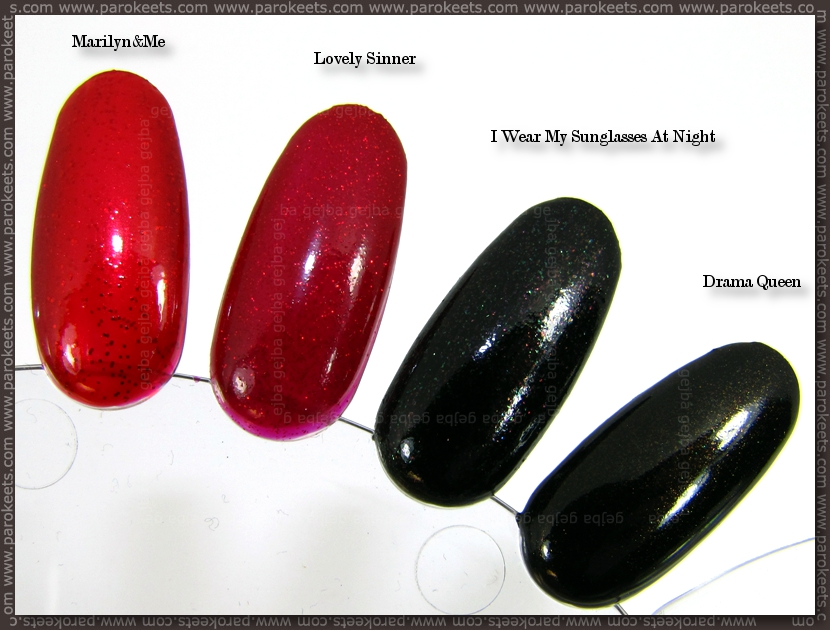 Catrice comparison: Marilyn&Me vs. Lovely Sinner; Drama Queen vs. I Wear My Sunglasses At Night