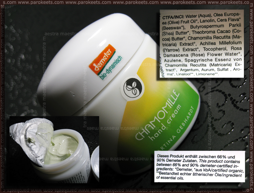 Martina Gebhardt - Chamomille hand cream with list of ingredients