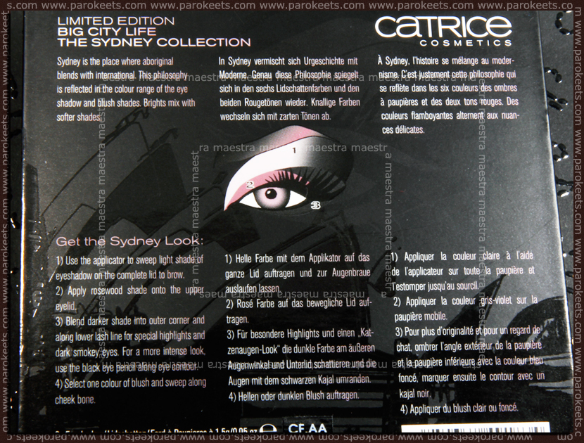 Catrice - Big City Life LE: The Sydney Collection (instructions)