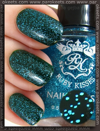 p2 Patchouli + Ruby Kisses Baby Blue nail polish layering