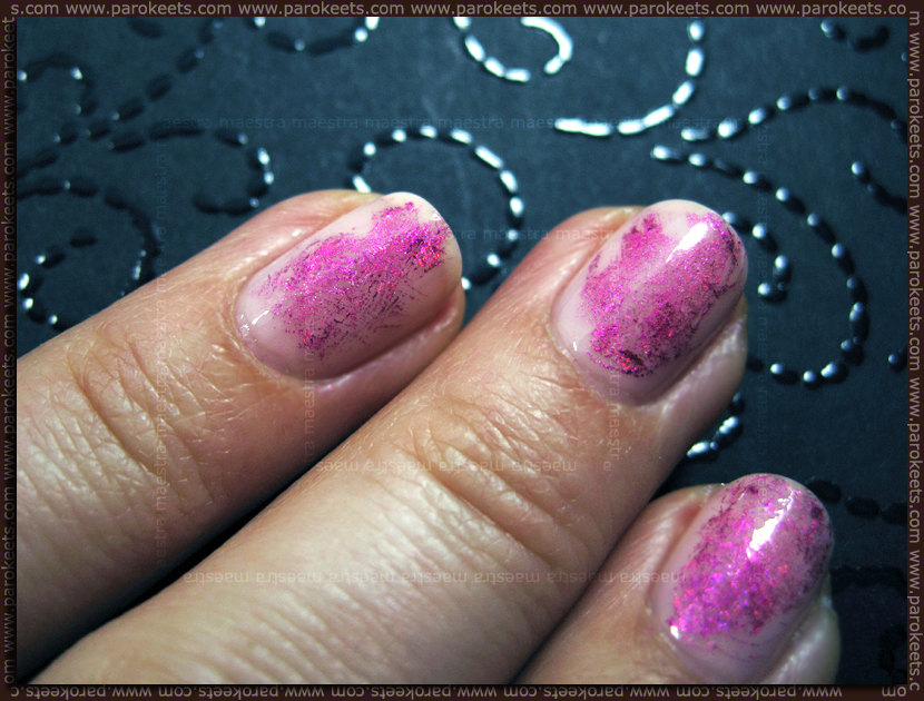 Nail Art with nail transfer foil: Essie - Pink Petal and Essence - Style Me Pretty