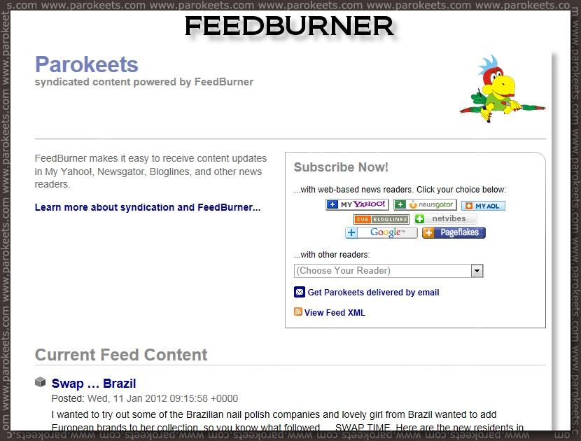 Parokeets blog RSS - Feedburner
