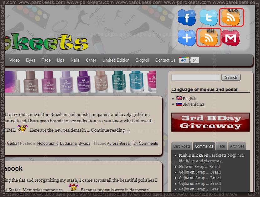 Parokeets blog RSS reader button