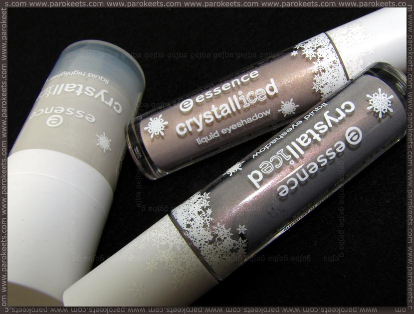 Essence Crystalliced TE: liquid highlighter, eyeshadows