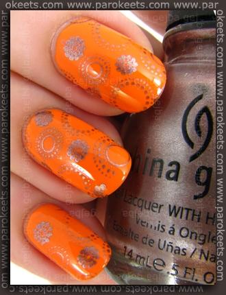 Avon Orange Creamsicle, China Glaze Robotika, fauxnad XL B IP konadicure