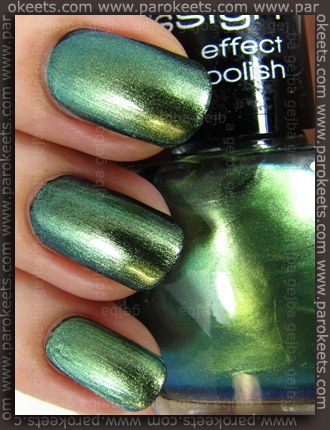 Misslyn Leguan layered over Color Club Where's The Soiree swatch by Parokeets