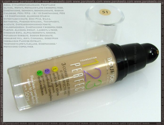 Bourjois 123 Perfect liquid foundation: bottle, ingredients