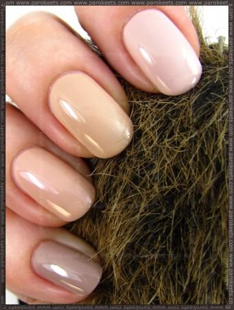 Essence Nude Glam nail polishes comparison