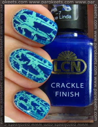 LCN Blue Linda crackle + Rimmel Misty Jade
