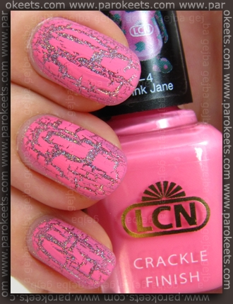 LCN Pink Jane crackle + Flormar True Crystals 109 swatch