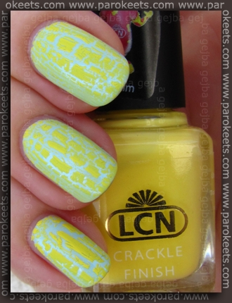 LCN Yellow Kim crackle + H&M Light Blue swatch